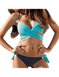 Vovotrade Femmes Haute Taille 2 pièces Rayé Bikini Spa Maillot de Bain Maillot de Bain (Size:M, Noir)