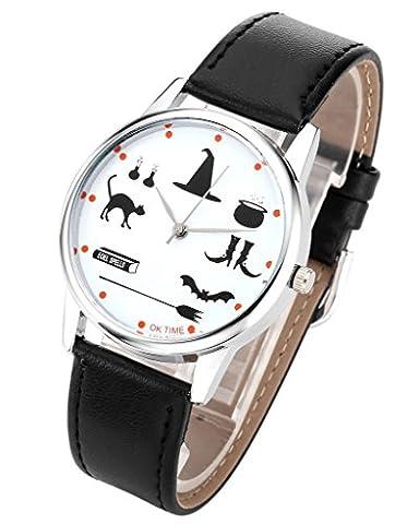 JSDDE montre quartz Unisexe cadran du blanc le accessoire de la sorcellerie et magie graduations boîtier de montre de l'argent bracelet en