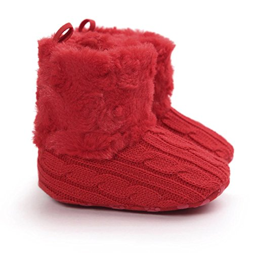 Saingace Krabbelschuhe boots 0 ~ 18 Monate Baby weiche Sohle Snow Boots Soft-Krippe Schuhe Kleinkind Stiefel Rot