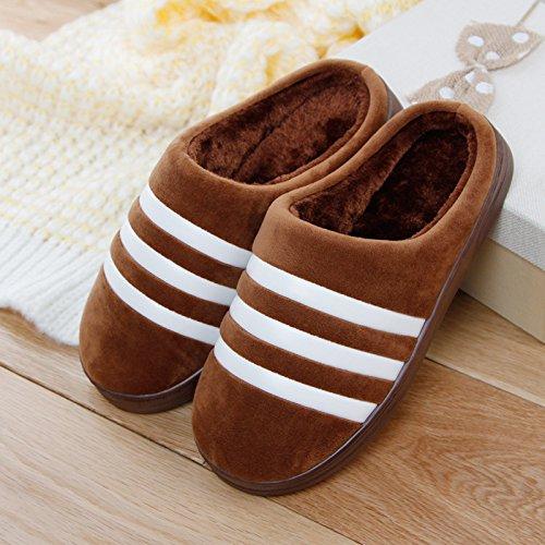 DogHaccd pantofole,Inverno paio di pantofole di cotone pantofole gli uomini e le donne a rimanere a casa per riscaldare antiscivolo peluche spesse pantofole Brown4