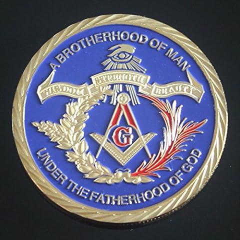 franc-maçon pièce commémorative Beautyful Rare Plaqué or Médaille maçonnique et