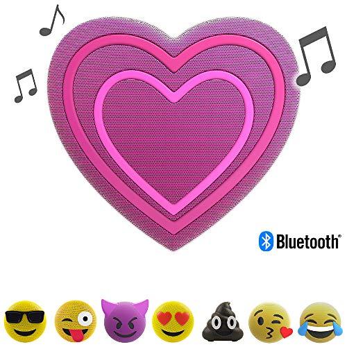 Jamoji Bluetooth Lautsprecher (mit LED-Beleuchtung, Herz Smiley Emoticon Emoji, kabellose Lautsprecherbox, 6 Stunden Akkulaufzeit, mit Standfuß, AUX und Micro-USB Anschluss)