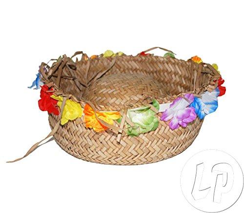 Lote-Conjunto-de-3-piezas-Sombrero-de-Tahit-a-las-flores-y-flecos-Hawaii