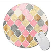 Wuudi Mouse Pad, Computer Supply Mouse Accessories Circle Shape Mouse Pad Rhombus Diamond Printed Mouse Pad with Type 4 Print