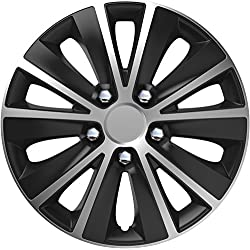UKB4C 4x Wheel Trims Hub Caps 15 Covers fits Toyota Avensis Aygo Yaris Black