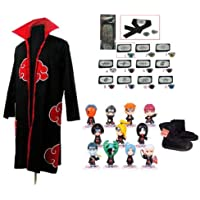 Cosplay Naruto Akatsuki Ninja cosplay   Cosplay capa + Naruto Naruto Ninja  diadema + zapatos + c3cd0853937b