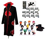 Cosplay Naruto Akatsuki Ninja cosplay / Cosplay capa + Naruto Naruto Ninja diadema + zapatos + anillo + Ninja Naruto figurilla 11 piezas, tamaño M (altura 159cm-168cm)