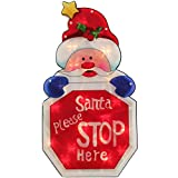 WeRChristmas Pre-Lit Santa Stop Here Sign Double Sided Window Silhouette Christmas Decoration - 45 cm, Multi-Colour