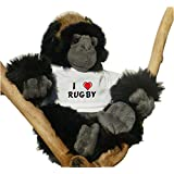 Gorila de peluche (juguete) con Amo Rugby en la camiseta (nombre de pila/apellido/apodo)