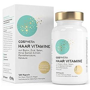 Cosphera Haar-Vitamine – Hochdosiert mit Biotin, Selen, Zink, Folsäure, Hirse Samen Extrakt – 120 vegane Kapseln im 2 Monatsvorrat – Haarkapseln für Männer und Frauen