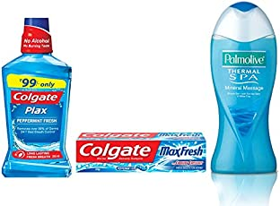 Palmolive Bodywash Thermal Spa Mineral Massage Shower Gel - 250 ml with Colgate Blue Max Fresh Toothpaste - 150 g and Colgate Peppermint Fresh Mouthwash - 250 ml