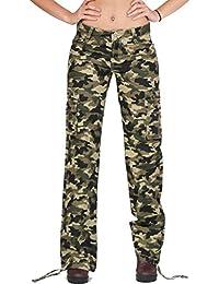 Femme Pantalon Treillis Armée Militaire Camouflage Coupe Large - Vert