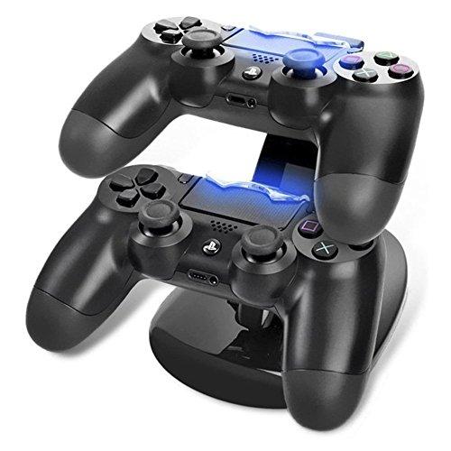 Cargador Mandos PS4 Estación de Carga rápida para Mandos 2 en 1 para PS4 Cargador de Control Doble Cargador Estación de acoplamiento Estación de carga doble con Bloque de Alimentación