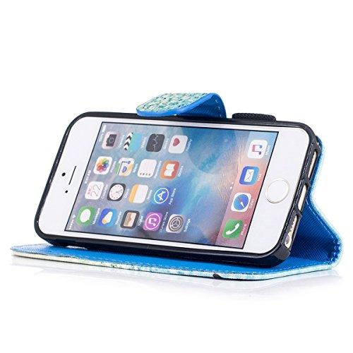 "MOONCASE iPhone 5/iPhone 5s/iPhone SE Coque, [Colorful Pattern] Wristbands avec Support Protection Étuis Case Card Holder Flip Cuir Housse pour iPhone 5s/iPhone SE 4.0"" Down Jacket Sand"