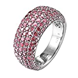 Esprit Collection Damen-Ring 925 Sterling Silber rhodiniert Kristall Zirkonia Amorana Berry rosa