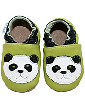 Leder Krabbelschuhe mit Pandamotiv von BaBice