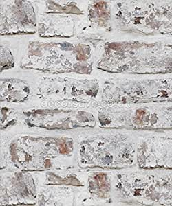Arthouse Brick Effect Brown White Old Weathered Rustic Whitewashed Wallpaper by Arthouse