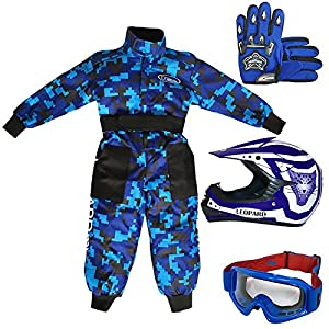 Leopard Kids Children CAMO Motorbike Suit + Leopard LEO-X17 Kids Junior Motocross MX Bike Helmet & Gloves & Goggles Off Road ATV Quad by Touch Global Ltd