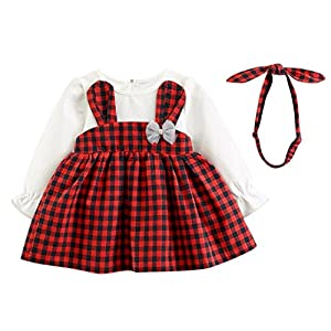 Ears Newborn Baby Boy Girl Langarm Winter Clothing Sets Toddler Baby Girls Plaid Long Sleeve Rabbit Princess Dress+Headband Set Outfits