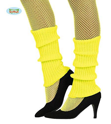 (Guirca Sexy Neon Gelbe Bein Arm Stulpen für Damen Zum 80er Jahre Damenkostüm Fasching)