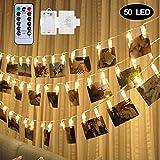 Angker LED Clip Photo Guirlande lumineuse, 50 clips Photo 5 m Alimenté par batterie Fée Tableau lumières pour suspendre des photos, chambre à coucher Décorations à suspendre