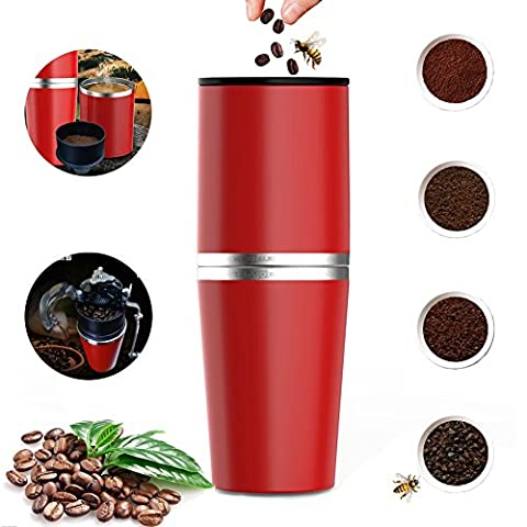 AIGUMI Coffee Machine, Portable Hand Coffee Grinding Set All-in-one Coffee Maker Tumbler Hand Mill Grinder No Electric Outdoor Cappuccino Camping Hiking Travel On The Move (Red)