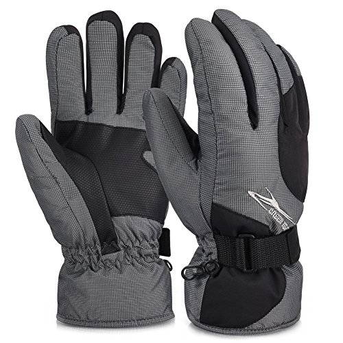 Vbiger Skihandschuhe Skifahren Handschuhe für HerrenOutdoor Handschuhe Sport Handschuhe Winter (XL, GRAU)