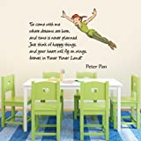 Wandtattoo, Vinyl, Wanddeko, mit Peter Pan-Motiv und englischsprachigem Schriftzug, in Farbe, für Kinderzimmer