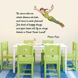 wandtattoo vinyl wanddeko mit peter pan motiv und englischsprachigem schriftzug in farbe. Black Bedroom Furniture Sets. Home Design Ideas