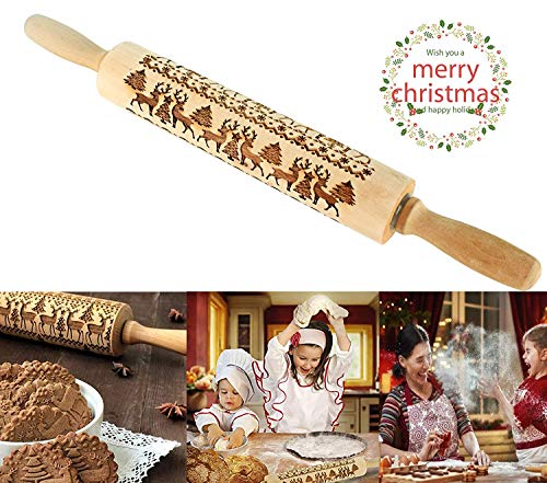 Pastelli di Natale Ansblue in legno, mattarello alce Cervo in rilievo inciso con simboli natalizi per biscotti in rilievo (43x5cm)