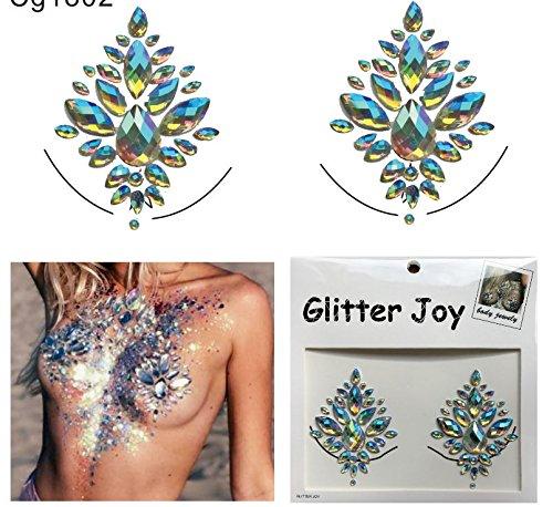 Brust und Körper Juwelen Edelstein Aufkleber Glitter MAKE-UP für Party Festival Shows und Bühnenauftritte Klare Regenbogen cg1802