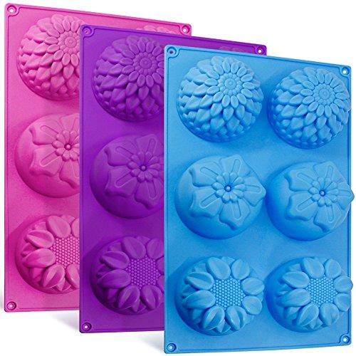 kon-Blumenform Kuchenformen, 3 Packs Fondant Rose Form Dekorieren Eiswürfel Trays für hausgemachte Kuchen Schokolade Cupcake - lila blau rosa ()