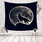 Morbuy Tier Wandteppich, Tapisserie Kreativ Mondschatten Design Wandbehang aus Polyster Wandtuch Tischdecke Meditation Yogamatte Strandtuch (Klein (130 x 150cm), Wolf)