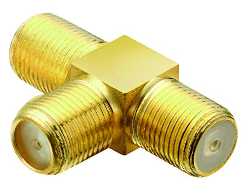 adaptare 60615 Sat-T-Stück 1-mal F-Buchse auf 2-mal F-Buchse vergoldet