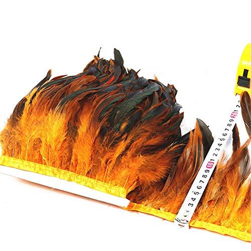 Lieferanten Kostüm Schmuck Mode - SHFives 1 Meter natürliche hahn Schwanz Feder schneidet Band Dress Rock Fringe Clothing fasanenfedern für Handwerk schmuck Machen Plumas, orange