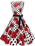 Gardenwed Damen 1950er Vintage Cocktailkleid Rockabilly Retro Schwingen Kleid Faltenrock White Rose Dot XL