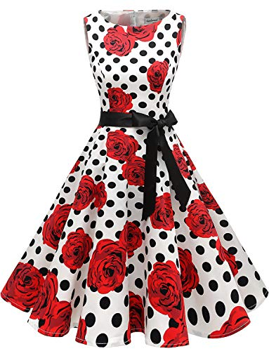 Gardenwed Damen 1950er Vintage Cocktailkleid Rockabilly Retro Schwingen Kleid Faltenrock White Rose Dot S - Rose Kleid