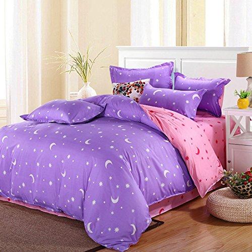 Preisvergleich Produktbild Bettwäsche-sets King & Super Doppelbett Einzelbett Normalgröße Bett Bettwäsche Mit Kissenbezug - Mond Sterne Lila, Einzel