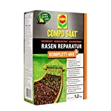 COMPO SAAT Rasen Reparatur Komplett-Mix+, Rasensaat, Keimsubstrat, Langzeit-Rasendünger und Bodenaktivator, 1,2 kg (6 m²)