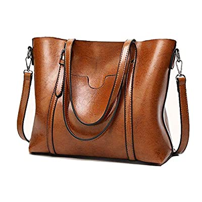 Soft Leather Handbag for Womens, Large Commute Top Handle Tote Shoulder Bag Zipper Women's Work Satchel Bag