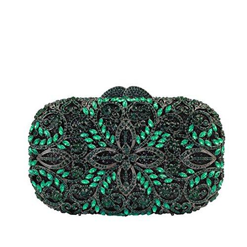 Frauen Abendbeutel Diamanten Kosmetiktasche Luxus Kristall Handtasche Green