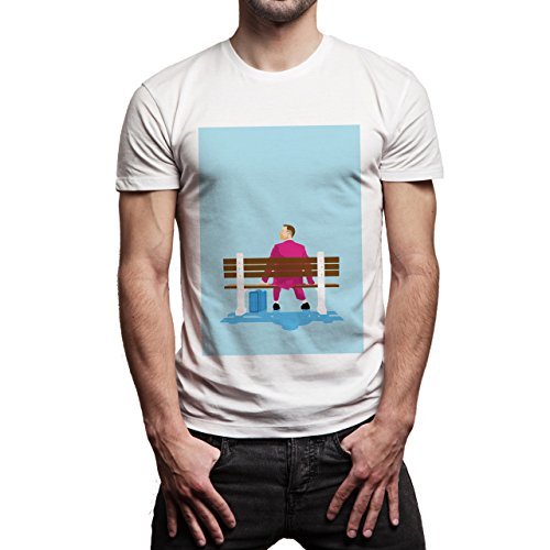 Forrest Gump Is Sitting On The Bench In Pink Suit Movie Background Herren T-Shirt Weiß
