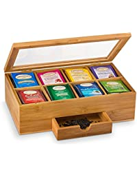 Winmaarc Tea Box Storage Natural Tea Chest Tea Bag Holder with Clear Hinged Lid