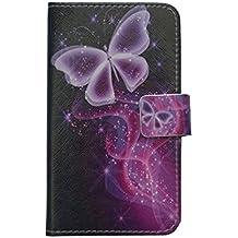 Doogee F5funda [lápiz capacitivo], lujo Cartera Titular de la tarjeta cierre magnético Funda de piel para doogee F5(diseño de mariposa)
