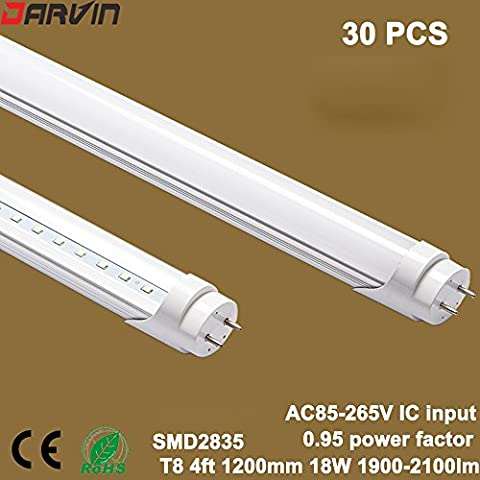 Led Tube Light T8 4ft 18W Split Tube Lamp AC85-265V Energy Saving Replaced Old Fluorescent Cold White 6000-6500K With Milky Cover 30 pcs/Lot