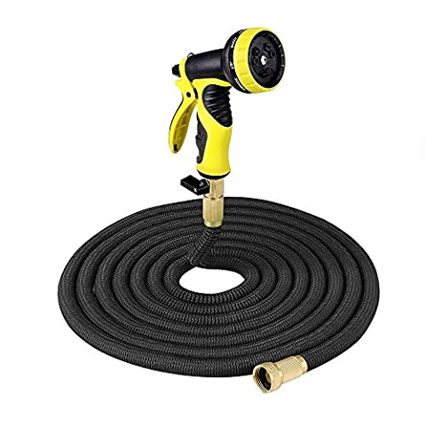 50FT 75FT 100FT Expanding Hose, Strongest Expandable Garden Hose with Double Latex Core, Solid Brass Connector, Extra Strength Fabric and 9-pattern Spray Nozzle for all Watering Needs (50 FT)
