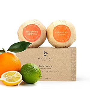 Natural Bath Bomb Energizing Collection; Organic and Natural; Luxurious Aromatherapy Essential Oils and Epsom Salt; Set of 2 Extra Large Bombs 6.5 oz