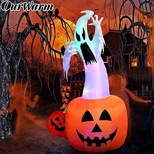 Kleinkind Beängstigend Kostüm - FIREWSJ Halloween Kostüm Dekoration 6 Fuß Halloween Aufblasbarer Kürbis Mit Farbwechsel Led Im Freien Beängstigend Aufblasbare Explosion Halloween
