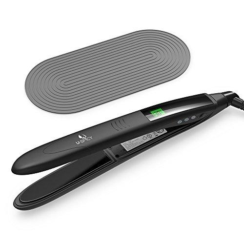 Glätteisen USpicy Haarglätter Haar Lockenstab mit MCH Keramikplatte, LCD-Display, Ausschaltautomatik nach 1 Stunde, 110V-220V Kompatibilität, Ergonomischer Griff, Silikonmatte, 130 °C –232 °C