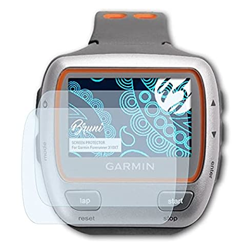 Bruni Garmin Forerunner 310XT Folie - 2 x glasklare Displayschutzfolie Schutzfolie für Garmin Forerunner (Garmin 310 Xt)